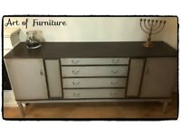 "Retro Solid Sideboard Hand Painted in ANNIE SLOAN Paris Grey & Dark Grey Chalk Paint ""Upcycled"""