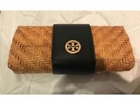 Tory Burch wicker clutch-used once! Perfect condition!
