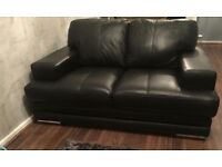 Dfs 2 &3 seater black leather sofas
