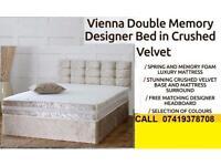 New Offer Crush velvet Double Divan Base With Semi Orthopaedic Memory Foam Available