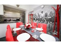 Glass dining table and 6 red chairs