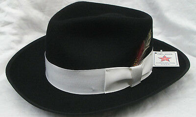 New Men's Black Zoot Hat with Feather Fedora Church Gangster XL(7 5/8 - 7 3/4) (Felt Hat With Feather)