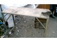 Vintage Industrial Fold up workbench with vice