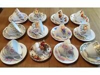 12 BEAUTIFUL VINTAGE BONE CHINA TEA SET CUPS AND SAUCERS