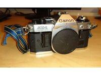 Canon AE1-P, SLR Film Camera, power winder A 28,50,100, 28-105 FD lenses and aluminium case