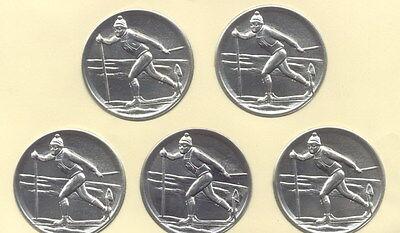"""5 Stück Zinn - Embleme """" Ski - Langlauf """" für Pokale / Medaillen 5 cm"""