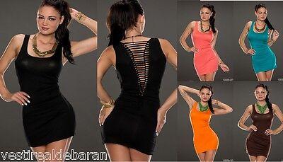 Miniabito Donna Abito Vestito Smanicato NQ Fashion C105 Tg Unica S/M