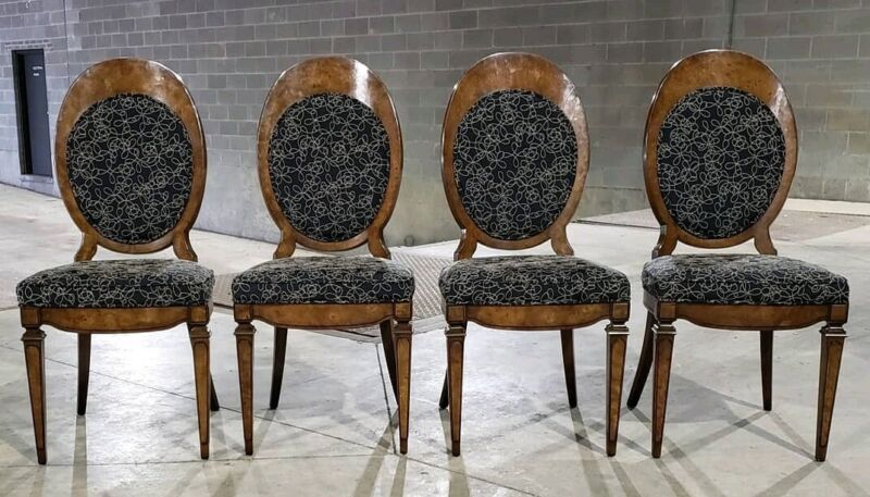 (4) Mastercraft Balloon Back Burlwood Dining Chairs *(Ask For A Shipping Quote)*