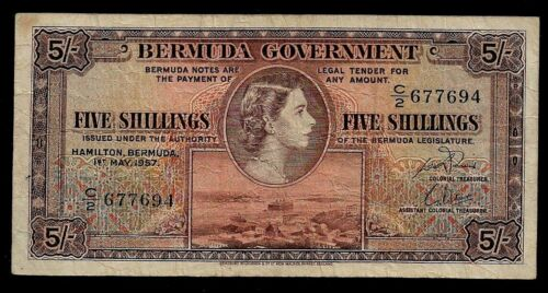 Bermuda 5 Shillings 1957 Young Queen