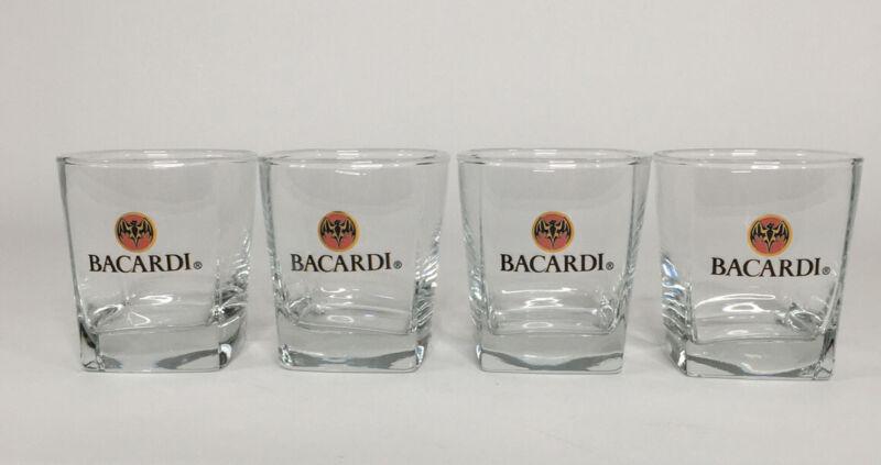 BACARDI Glass Tumblers Bat Clear Rum Advertising Glassware Set Of 4