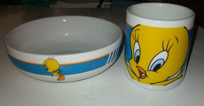 Tweety Bird Looney Tunes Ceramic Mug & Bowl 2000 Warner Brothers by Gibson