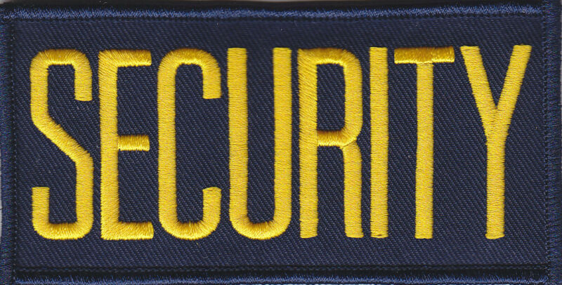 """SECURITY Medium Gold on Navy Blue Front Panel Patch 4"""" X 2"""""""