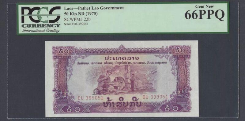 """LAO 50 Kip 1975 Pick# 22b PCGS 66 PPQ """" Gem New"""" (#924)"""