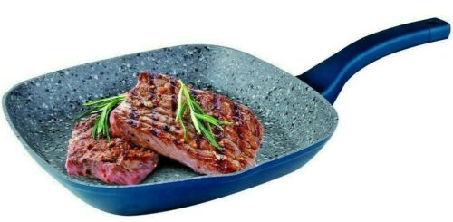 """11"""" Aluminum Non Stick Grill Pan With Induction Bottom,Granite Coating, Gray"""