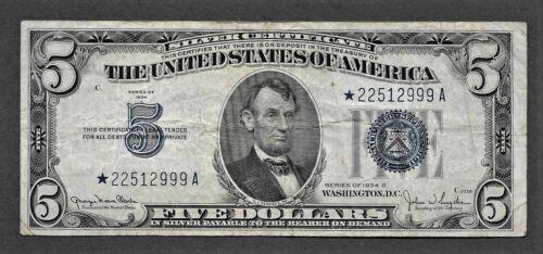 1934D $5 Silver Certificate - STAR NOTE