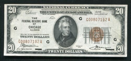 FR. 1870-G 1929 $20 FRBN FEDERAL RESERVE BANK NOTE CHICAGO, IL ABOUT UNC