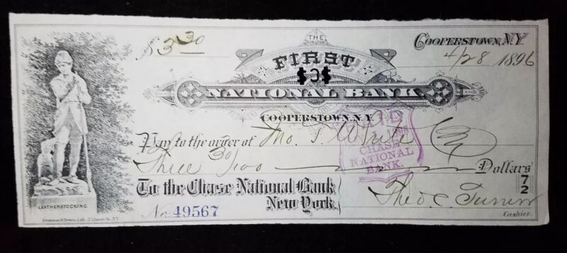 Obsolete Bank Check First National Bank of Cooperstown N.Y. Chase 1896 (item 8)