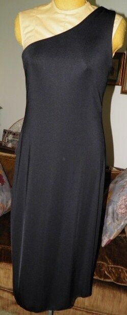 EXPRESS STRETCH 5/6 Black one shoulder long dress polyester spandex USO BENEFITS