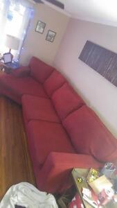 Custom Red Section Couch