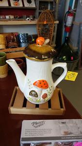 1970's Mushroom Themed Tall Ceramic Teapot