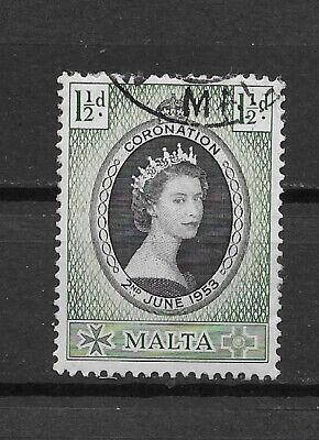 MALTA , 1953 , CORONATION , ELIZABETH II , 11/2p STAMP ,  PERF ,  USED