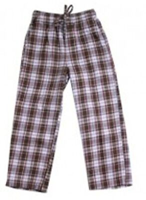 (NWT Wes & Willy BROWN plaid FLANNEL lounge COTTON drawstring waist pants BOYS 7)