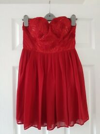 BNWT ELISE RYAN Red Lace Embellished Strapless Christmas Party Dress Size 12