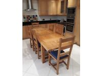 Solid Oak Kitchen Table and Chairs.