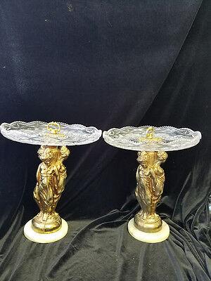 Antique Pair metal golden  figure & pressed Glass Centerpieces ; Fruit Platter