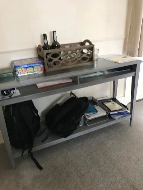 Console Table gray and glassin Cambridge, CambridgeshireGumtree - for sale two console tables from IKEA Gray/glass. almost new. very good condition. can be sale together or just one. 133x37 cm 60 pounds each