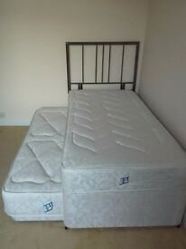 Single (to Double) Divan Bed complete with Metal Headboard.