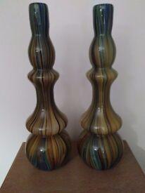 2 x Debenhams Hand Blown Glazed Glass Vases (Pristine Condition)