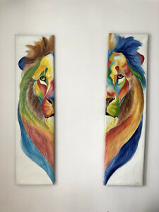 UNIQUE SPLIT LION CANVAS PAINTINGS PAIR - EXTRA LARGE