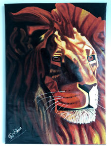 LARGE AUTHENTIC AFRICAN MODERN LION CANVAS PAINTING