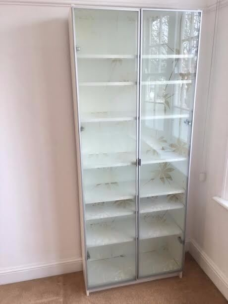 Merveilleux Lovely Ikea Billy White Bookcase Frosted Glass Doors Flower Pattern Glass Fronted  Display Unit