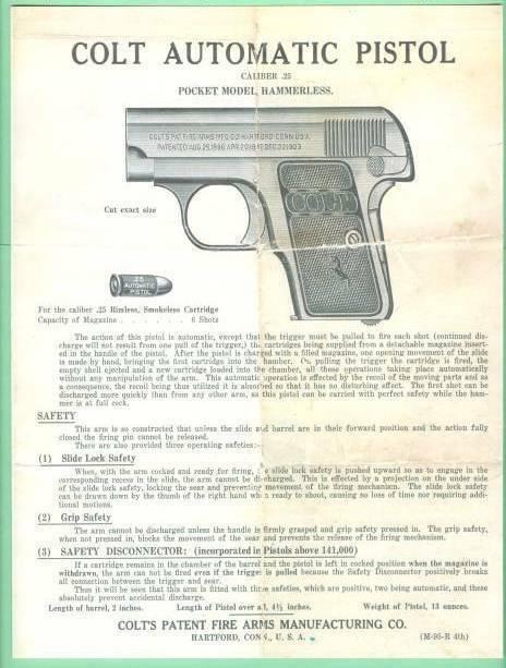 Colt Model 1908 Vest Pocket 25 ACP EARLIER Factory  Instr Manual Reproduction