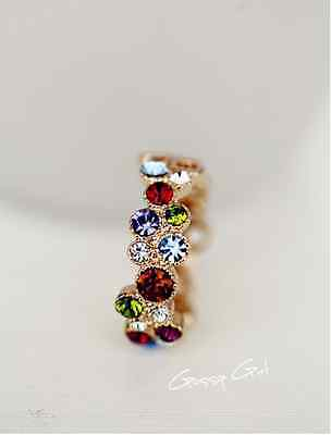 - 18K GOLD Filled Women's Multi Color Wedding Engagement Ring SWAROVSKI Crystal