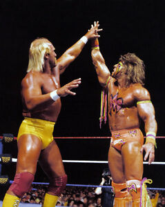 Wrestlers HULK HOGAN vs ULTIMATE WARRIOR Glossy 8x10 Photo Wrestlemania 6 Print