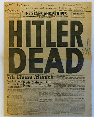 May 2, 1945 STARS & STRIPES 4-page newspaper section ~ HITLER DEAD Headline