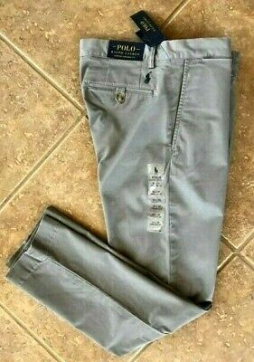 Polo Ralph Lauren Flat Front Chino Pants Mens 32 x 30 Grey Stretch Straight NWT