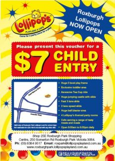 Free discount voucher - Lollipops Playland and Cafe Roxburgh Park Roxburgh Park Hume Area Preview