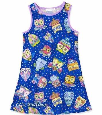 Girls SUNSHINE SWING blue owl dress 5 6 7 8 NWT fall forest tank rainbow summer (Girls Owl Dress)