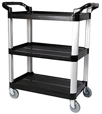 Utility Service Cart - 3 Shelf - 450 Lbs Capacity W 33 X H 38 X D 17 Black