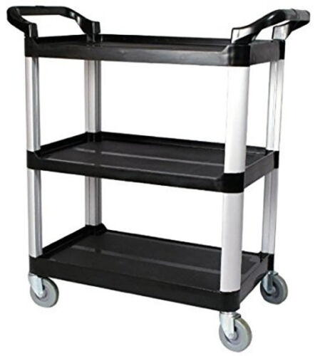 Aluminum Rolling Tier Utility Cart - 3 Shelf - Black