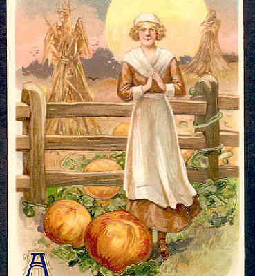 SCHMUCKER....PILGRIM LADY,RICH COLOR,THANKSGIVING PUMPKINS CORN,WINSCH  POSTCARD