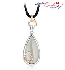 Sterling Silver S925 2-Tone Moonstone Elegant Long Gemstone Necklace