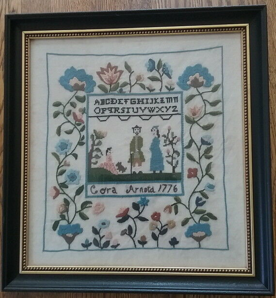 Framed Needlepoint Sampler Cora Arnold Dated 1776 Linen Florals Family Alphabet