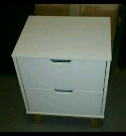 A brand new white finish is 2 drawer bedside table .