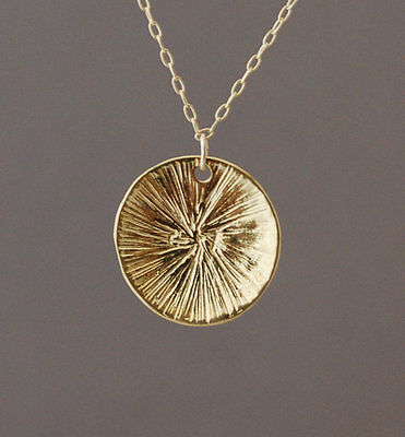 Gold Sun Disc Medallion Pendant Necklace Circle Round -
