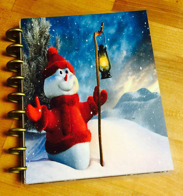Lamp Post Snowman Christmas Holiday Front/Back Cover Set 4 use w HAPPY Planner